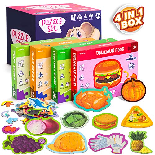 Jigsaw Puzzles for Kids Ages 2-5,Toddler Puzzles,Preschool Educational Learning Toys Puzzles,4 Series Food Puzzles in Individual Boxes