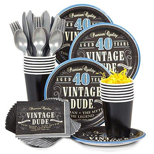 Costume SuperCenter Vintage Dude 40th Birthday Party Standard Tableware Kit Serves 8
