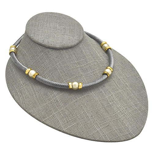 Grey Linen Low Profile Jewelry Necklace Display Bust ~ 6 3/4' x 8' x 3 1/2' Tall