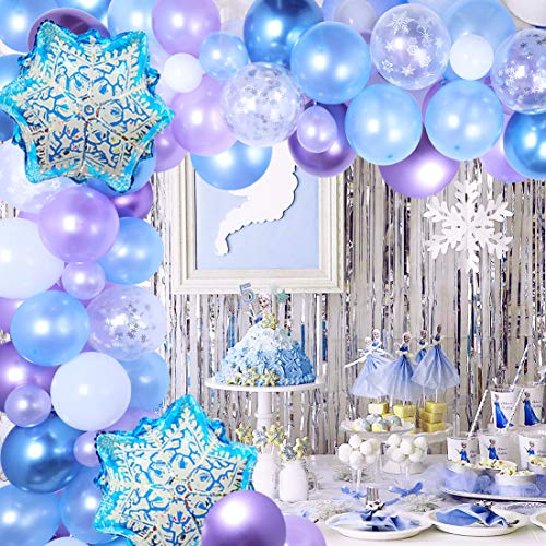 Snowflake Balloon Garland Arch kit 116 Pack Snow Balloons for Ice Princess 1st, 2nd and 3rd Birthday Party, Winter Wonderland, Wedding, Baby Shower Decorations