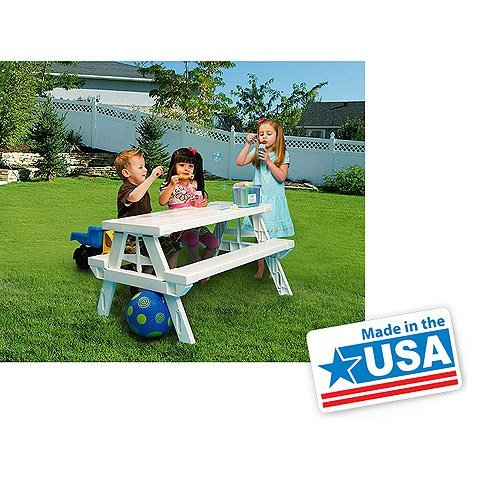 Generic Redeo White Foldable Children's Picnic Table 600 lbs Plastic Compact Durable