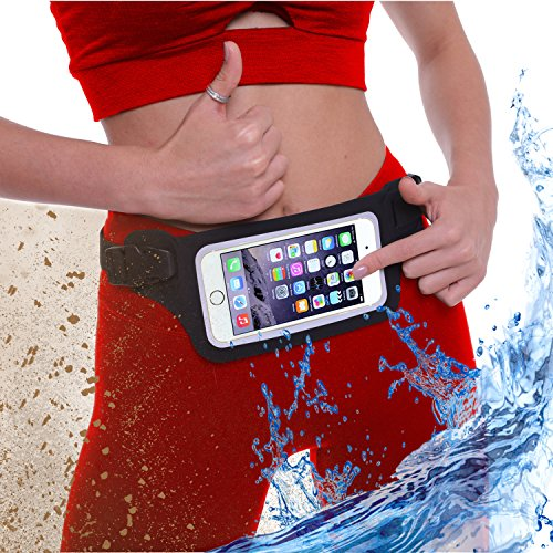 New Waterproof Running Swimming Belt Fanny Pack for iPhone 6 7 8 X 11 Plus & Android Samsung - W/Touchscreen Cover - IPX8 Rated Dry Waist Bag Pouch for OCR, Beach, Pool, Kayaking, Rafting and more!