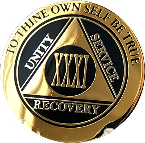 Recoverychip 31 Year AA Medallion Elegant Black Gold Silver Bi-Plated Alcoholics Anonymous Chip