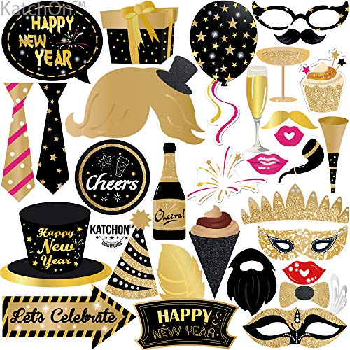 New Years Photo Booth Props – Pack of 30 - Shiny Foil | 2021 New Years Eve Photo Props | Great for New Years Eve Party Supplies 2021 | Happy New Year Party Decorations 2021 | NYE Props, DIY Required