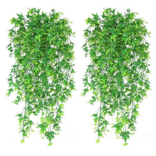 Artificial Hanging Vine, Sweet Potato Leaves Plastic Plants Greenery Faux Ivy Garland Fake Plant UV Resistant for Indoor Outdoor Garden Door Wall Baskets Wedding Party Table Decoration Green 4 Pcs