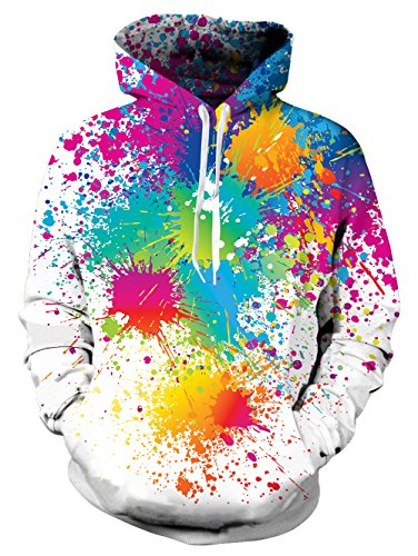 uideazone Unisex Realistic 3D Print Galaxy Pullover Hoodie Funny Pattern Hooded Sweatshirts w/Pockets for Teens Jumpers
