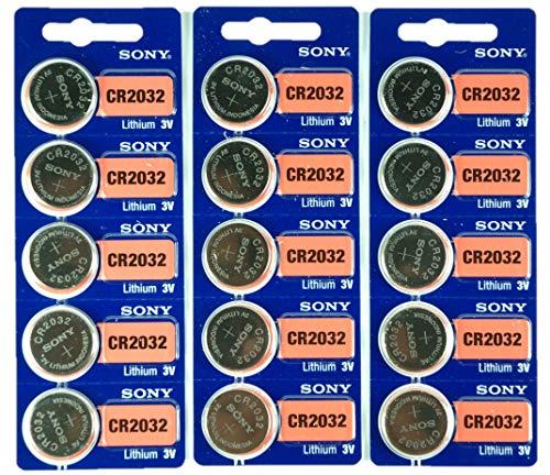 Sony CR2032 3V Lithium 2032 Coin Battery, 15 Pack