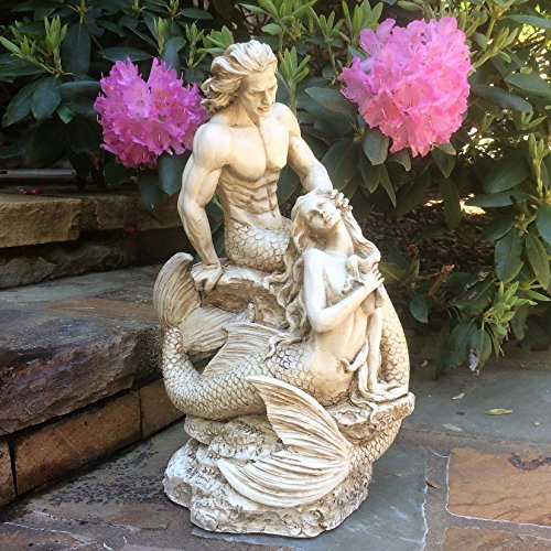 18 in. Sexy Mermaid and Triton Merman Male Mermaid on Nautical Rock Together Distressed Antique White Finish Beach and Pool Statue