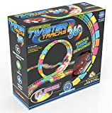 Mindscope Twister Tracks Trax 360 Loop 13' (feet) of Neon Glow in The Dark Track with One LED Light-Up Race Series Car