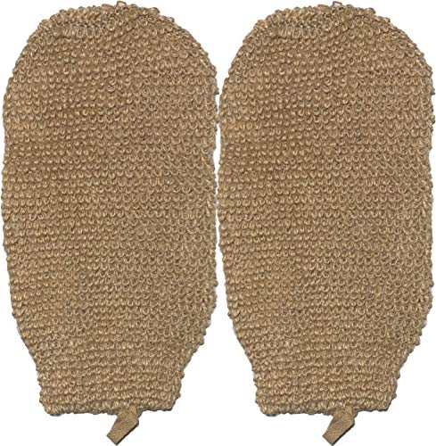 2 PACK 100% Natural Exfoliating Hemp Glove Mitt Mitten - Bath Sponge Scrubber Remove Dead Skin - Deep Clean & Invigorate Your Skin - Machine Wash and Dry - Double Sided Available