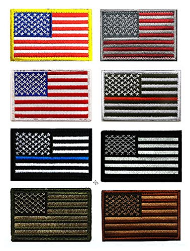 US Flag Patch, Antrix 8 Pack Great Value USA American Flags Thin Blue Line Thin Red Line US Army Flag Fully Embroidered Military Morale Patches Set