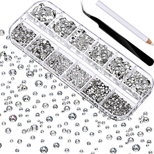 TecUnite 2000 Pieces Flat Back Gems Round Crystal Rhinestones 6 Sizes (1.5-6 mm) with Pick Up Tweezer and Rhinestones Picking Pen for Crafts Nail Face Art Clothes Shoes Bags DIY (Clear)