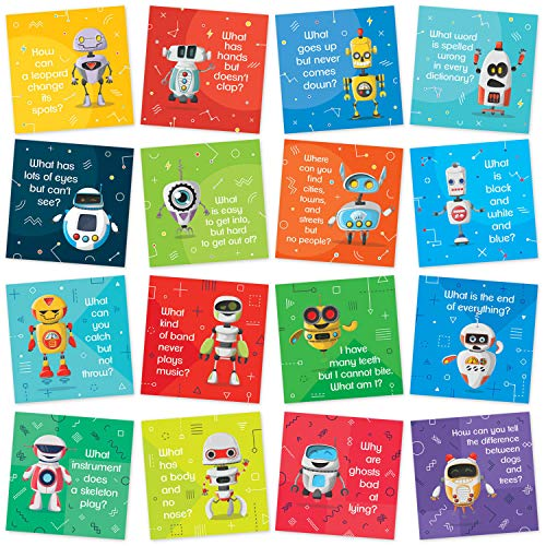 Lunch Box Notes for Kids - 60 Fun Robot Riddle Cards for Boys and Girls Lunchbox - Create Memorable Thinking of You Notes