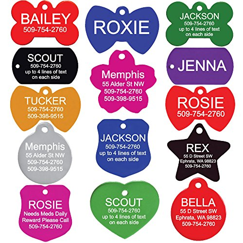 GoTags Pet ID Personalized Pet Tags for Dogs and Cats. Front & Backside Engraving and Sizes. Anodized Aluminum. Bone Shape Small.