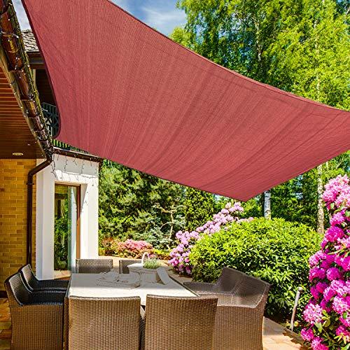 KANAGAWA Shade Sail 12'x12' Rust Red Rectangle UV Block Canopy Awning Shelter Fabric Cloth Screen for Outdoor Patio Garden Backyard