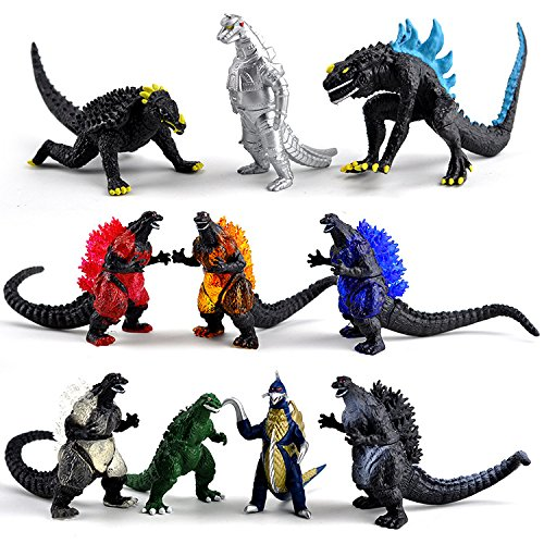 Stariver Store 10 Pcs Godzilla Movie Monster Series Mechagodzilla Gigan Anguirus Dinosaur Action Figures Toys Kids Gift Cake Toppers Play, 2.3- 3.5 Inches