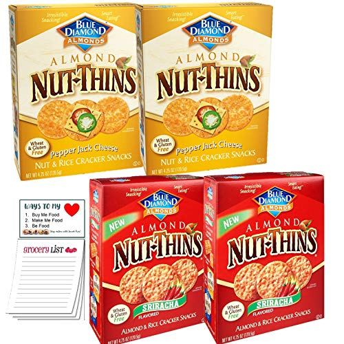 Nut Thins Spicy Variety Pack of 4 | Pepper Jack Pack of 2 | Sriracha Pack of 2 | Snack Fun Shopping Pad