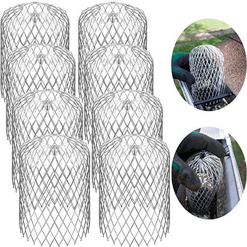 Gutter Guard Strainer 3 Inch Mesh Gutter Downspout Guard for Leaf and Rain Filter Gutter Screen Covers (8 Pack)