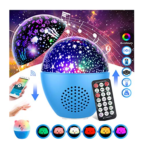 3 in 1 Night Light Projector for kids,Inpher Rechargeable Bluetooth Speaker Rotating Star & Ocean Projector 16 Lighting Modes Sound Activated Timer Remote Control with Cute Shell for Kids Bedroom Gift