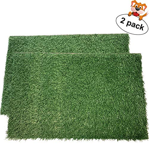 LOOBANI Dog Grass Pee Pads, Artificial Turf Pet Grass Mat Replacement for Puppy Potty Trainer Indoor/Outdoor Use - Set of 2 (14'x18')