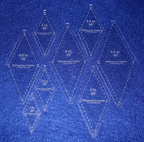 Diamond Templates 8 Pc Set No Tips 2 Inch - 5 1/2 Inch - Clear 1/8 Inch 45 Degree