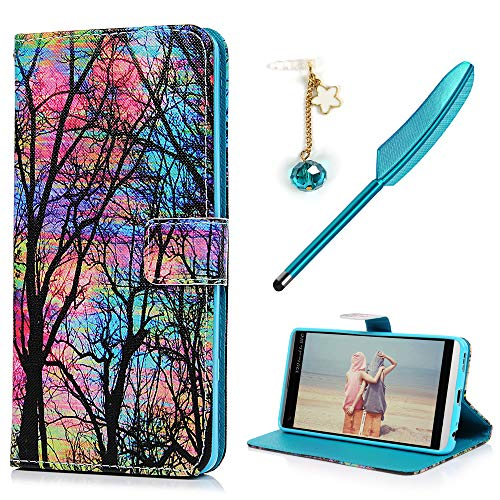 LG V20 Case Wallet, Colorful Painting Pattern PU Leather Wallet Case Kickstand Card Holders TPU Inner Shell Magnetic Front Closure Protective Bumper Cover & Dust Plug & Stylus KASOS - Wood