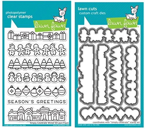 Lawn Fawn Simply Celebrate Winter Clear Stamps and Coordinating Lawn Cut Custom Craft Dies Two Item Bundle (LF1769, LF1770)