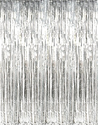 GOER 3.2 ft x 9.8 ft Metallic Tinsel Foil Fringe Curtains for Party Photo Backdrop Wedding Decor (Silver,5 pcs)