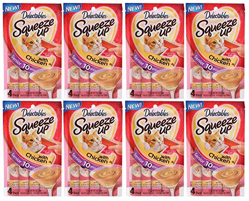 Delectables Squeeze Up Lickable Wet Cat Treats Chicken, Senior 10 Years + 32 Tubes