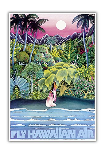 Fly Hawaiian Air - Hawaii Women on The Beach - Hawaiian Airlines - Vintage Airline Travel Poster c.1960s - Master Art Print - 13in x 19in