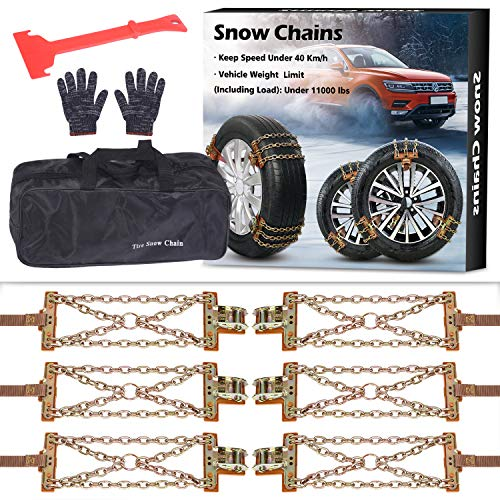 NICEASY Upgraded Newest Tire Chains,Snow Chains for RV,Truck,SUV of Tire Width 8.5-12.4 inch,Heavy Duty,Thickened,Adjustable,Durable,6 Pack