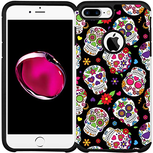 iPhone 6 Case, iPhone 6s Case, Dual Layer Shock Proof Bumper Protective Phone Cover - Sugar Skull