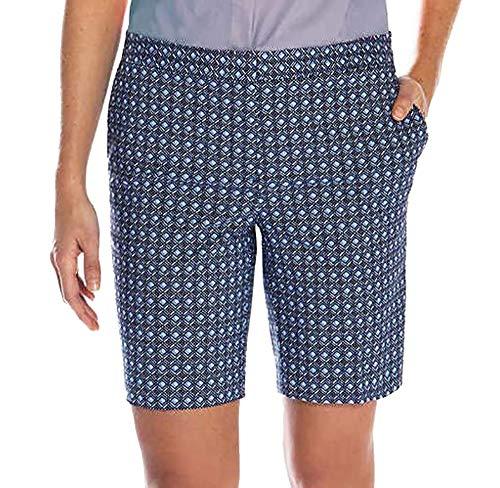 Mario Serrani Womens Italy Comfort Stretch Shorts with Tummy Control (8, Blue Pattern)