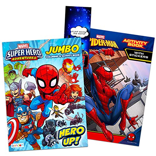 Super Hero Coloring Book Super Set ~ 2 Superhero Coloring Books with Stickers and Bonus Door Hanger (2 Superhero Activity Books Bundle Featuring Marvel Avengers and Spiderman)