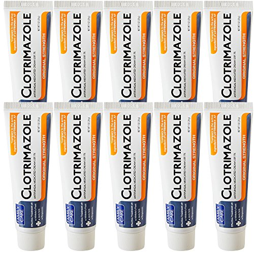 Family Care Clotrimazole Anti Fungal Cream, 1% USP Compare to Lotrimin 1oz. (10 Pack)