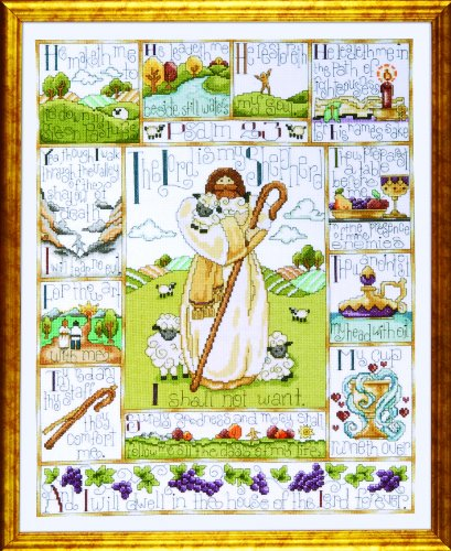 Tobin DW2538 14 Count 23rd Psalm Counted Cross Stitch Kit, 16 by 20-Inch
