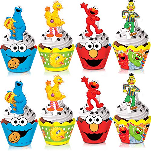 TMCCE Sesame Street Elmo Cupcake Toppers and Wrappers Elmo Cookie Monster Big Bird Birthday Party Supplies Favors Cake Decorations for Kids-48 Piece