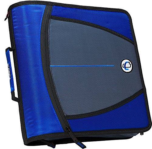 Case-it Mighty Zip Tab 3-Inch Zipper Binder, Blue, D-146-BLU