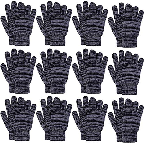 Cooraby 12 Pairs Winter Knitted Magic Gloves Stretchy Full Fingers Gloves for Men, Women or Teens (Medium, Black with Gray)