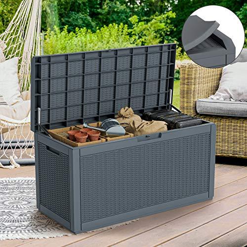 Cozy Castle Waterproof Outdoor Deck Box, 380L/100Gal Resin Outdoor Storage Box, Large Outdoor Storage Container Furniture, Lifetime Outdoor Storage Bench for Patio, Pool, Garden, Garage