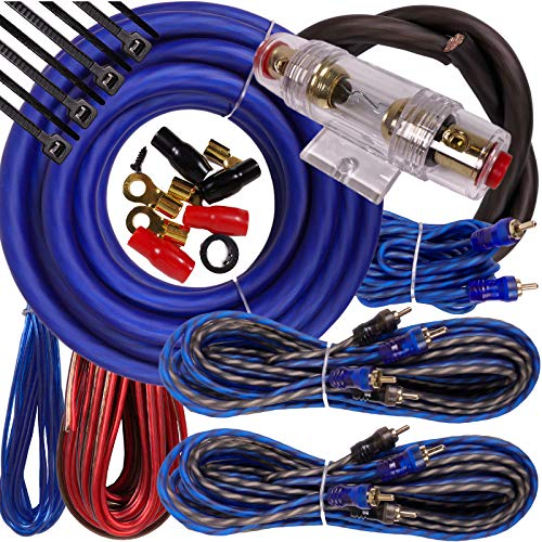 Complete 5 Channels 2000W Gravity 4 Gauge Amplifier Installation Wiring Kit Amp Pk2 4 Ga Blue - for Installer and DIY Hobbyist - Perfect for Car/Truck/Motorcycle/Rv/ATV