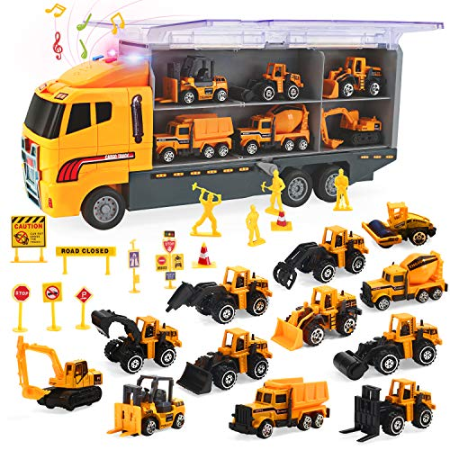 CUTE STONE 25 in 1 Construction Trucks Push and Go Car Carrier Truck Toy, Play Vehicles with Sounds and Lights, 12 Mini Diecast Trucks Included