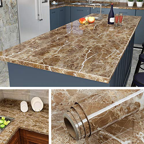 Livelynine 197x24 Inch Granite Contact Paper for Kitchen Countertop Peel and Stick Marble Wallpaper Granite Paper Old Furniture Bathroom Counter Top Covers Waterproof Removable Vinyl Wrap Extra Wide