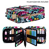 qianshan Pencil Case Holder Slot -Holds 202 Colored Pencils or 136 Gel Pens with Zipper Closure - Large Capacity Pen Organizer for Watercolor Pens or Markers for Beginner and Artist Blossom
