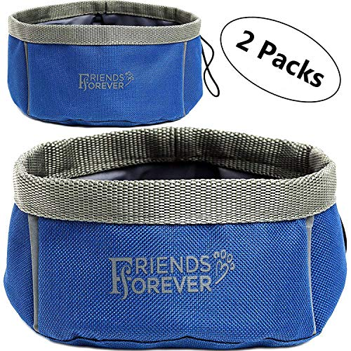 Friends Forever Collapsible Dog Bowl - 2 Pack Travel Dog Bowl, Water and Food Bowls for Dogs - Portable Pet Hiking Accessories …, Blue (PET66-0010UPC)