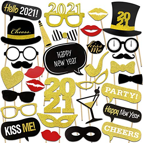 Konsait 2021 New Years Photo Booth Props with Sticks Funny New Years Eve Photo Props DIY NYE Party Accessories Masks Mustache Hat Red Lips Glasses New Year's Eve Party Decoration Supplies (26 Count)