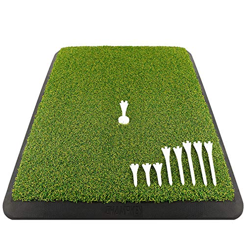 Champkey Premium Turf Golf Hitting Mat(9 Golf Tees & 1 Rubber Tee Included) - Heavy Duty Rubber Base with 16mm Turf Practice Mat Ideal for Indoor & Outdoor