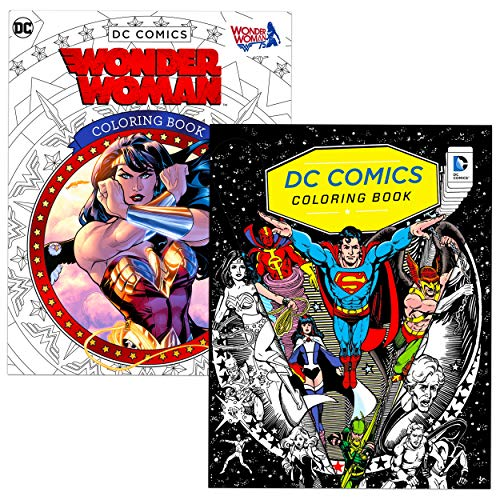 Superhero Coloring Book for Adults Relaxation Set ~ 2 Pack Advanced DC Comics Adult Coloring Book Bundle Featuring Superman, Batman, Wonder Woman, and More