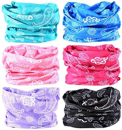 VANCROWN Headwear Wide Headbands Scarf Head Wrap Mask Neck Warmer (6PC.Paisley Series.1)