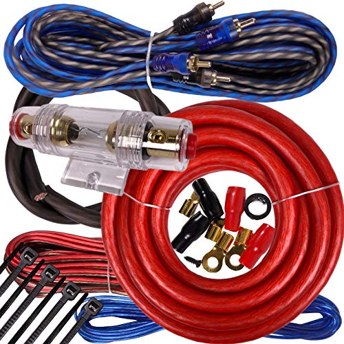 Complete 2000W Gravity 4 Gauge Amplifier Installation Wiring Kit Amp Pk3 4 Ga Red - for Installer and DIY Hobbyist - Perfect for Car/Truck/Motorcycle/Rv/ATV, 2000W / RED